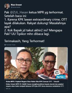 Dikritik Rian Ernest soal OTT, Zulkifli Hasan Tak Berkutik 1