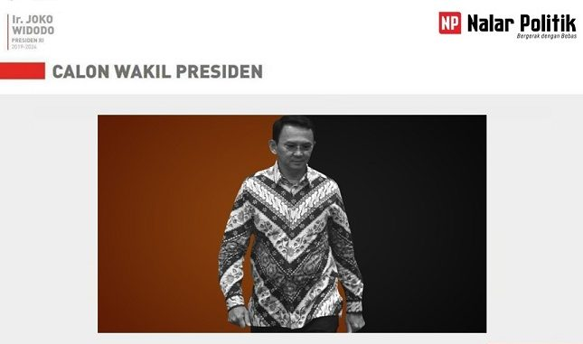 Ahok untuk Wakil Presiden Jokowi 2019-2024