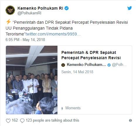 Pemerintah dan DPR Sepakat Percepat Penyelesaian Revisi UU Terorisme