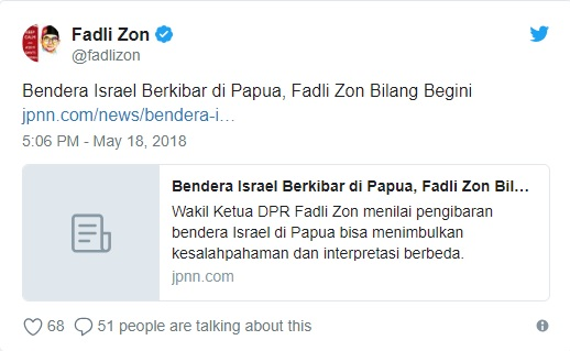 Marah Bendera Israel Berkibar di Papua, Netizen: Bendera Palestina & ISIS Gimana, Zon?
