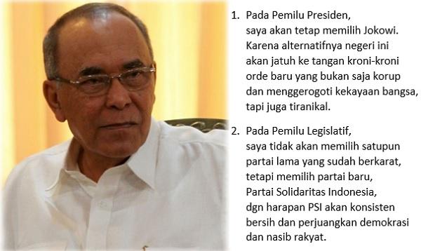 Pendiri PAN Abdillah Toha Akan Pilih Jokowi di Pilpres dan Caleg PSI di Pileg 2019