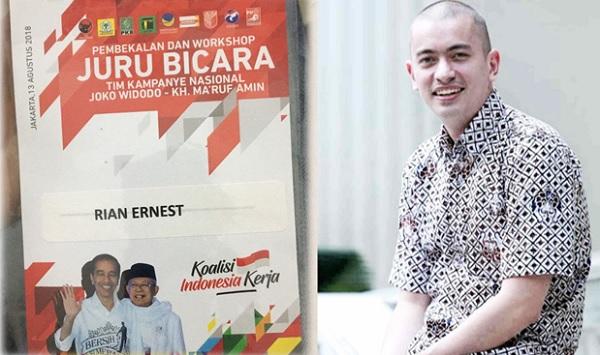 Rian Ernest Jadi Jubir Tim Pemenangan Jokowi-Ma'ruf