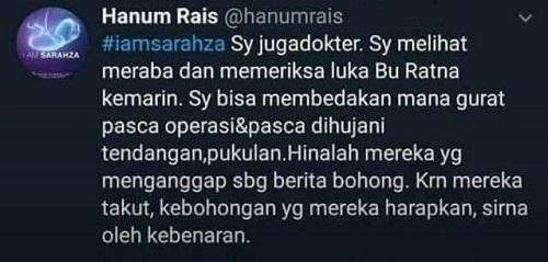 Kicauan Hanum Rais terkait kasus Ratna Sarumpaet