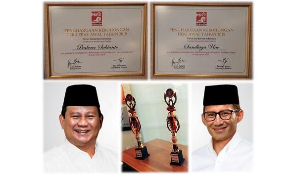 Penghargaan Kebohongan: Prabowo Terlebay, Sandiaga Terhakiki