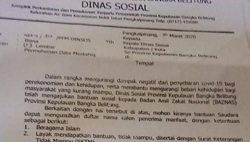 Surat Dinas Sosial Bangka Belitung